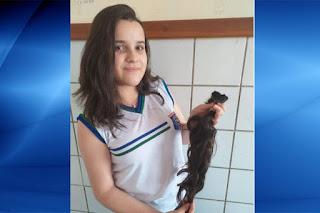 Caculé: Adolescente de 12 anos corta cabelo para doar a instituição que apoia pacientes com câncer