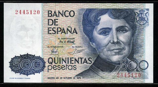 Spain currency money 500 Pesetas Rosalía de Castro