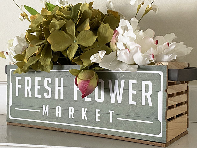 fresh flower crate with faux flowers