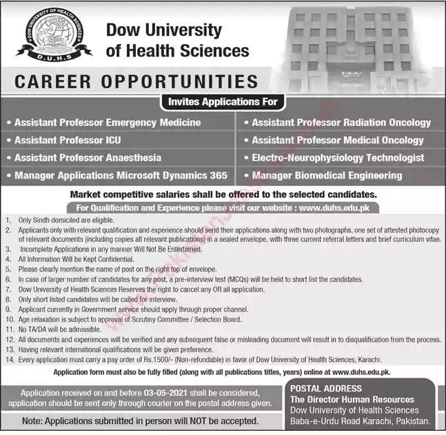 New Jobs in Pakistan Dow University of Health Sciences Karachi Jobs 2021   Apply Online