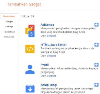 Cara Memasang Widget Atau Gadget di Blogger