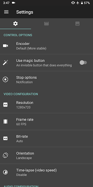 Setting AZ Screen Recorder