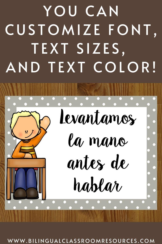 Editable Classroom Rules in Spanish