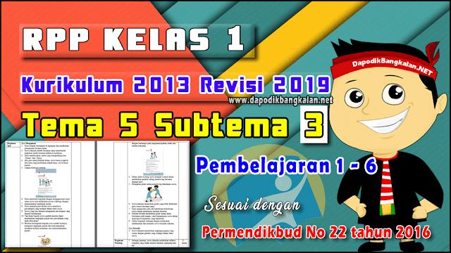 RPP Kelas 1 Tema 5 Subtema 3 Pb 1-6 K13 Revisi 2019
