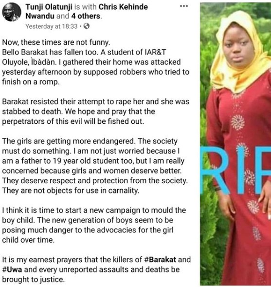Female Student Stabbed To Death After She Resisted Armed Robbers Tring To Rape Her At Home In Ibadan