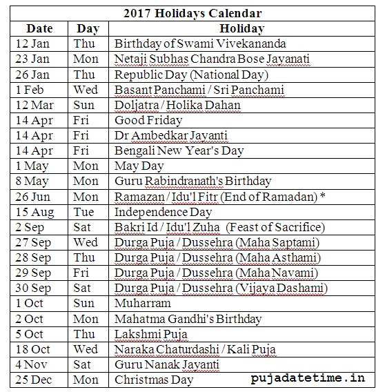 Holiday Calendar , 2017