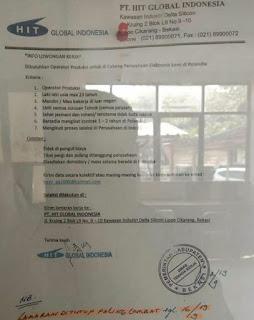 Lowongan Kerja PT HIT GLOBAL INDONESIA