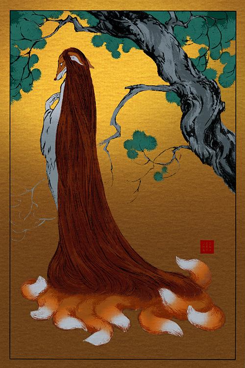 The Geeky Nerfherder: Cool Art: 'Fox Yokai' by Jed Henry