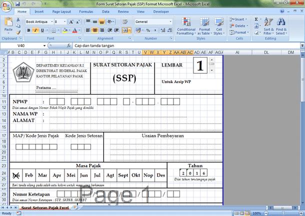 Form Surat Setoran Pajak (SSP) Format Microsoft Excel