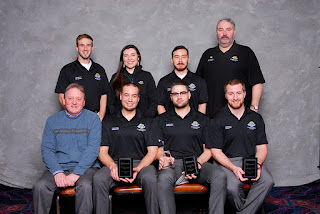 The heavy civil team finished in third place. Back row from L to R: Chase Swalling, Erin Dickson, Conor Nicoll, Jeff Wilson, Industry Coach. Front row L to R: Don Tipton, Faculty Coach, Brett Smith, Rodolfo Vaquera, Jake Henkel.