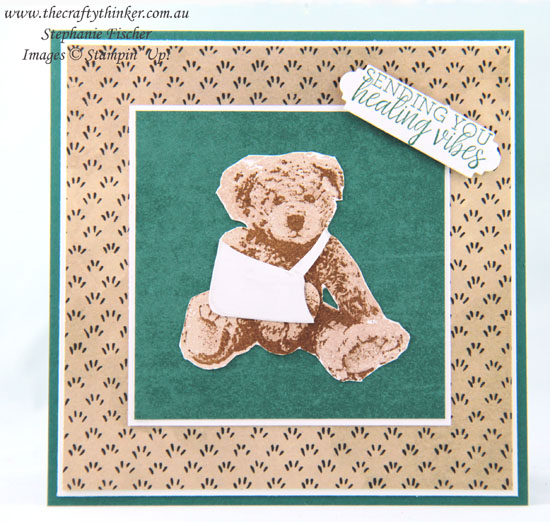 #thecraftythinker #stampinup #babybear #masculinecard #getwellcard #makeacardsendacard #cardmaking , Baby Bear, Masculine Get Well, Card for arm in sling, Stampin' Up Australia Demonstrator, Stephanie Fischer, Sydney NSW