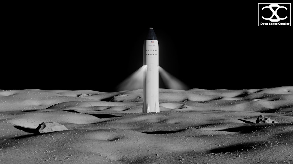 SpaceX Lunar Starship landing on the Moon by DeepSpaceCourier