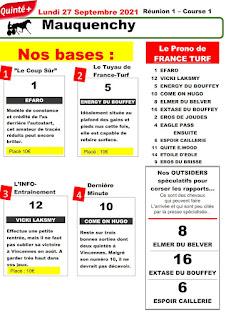 Pronostic quinté+ pmu Lundi Paris-Turf TV-100 % 27/09/2021