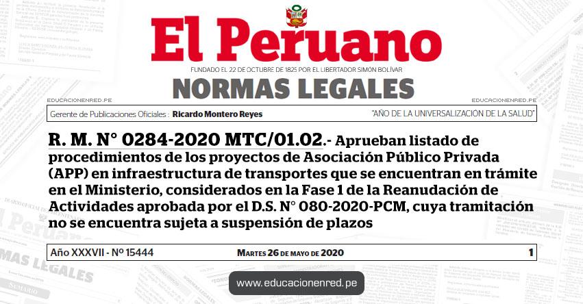 R. M. N° 0284-2020 MTC/01.02.- Aprueban listado de procedimientos de los proyectos de Asociación Público Privada (APP) en infraestructura de transportes que se encuentran en trámite en el Ministerio, considerados en la Fase 1 de la Reanudación de Actividades aprobada por el D.S. N° 080-2020-PCM, cuya tramitación no se encuentra sujeta a suspensión de plazos