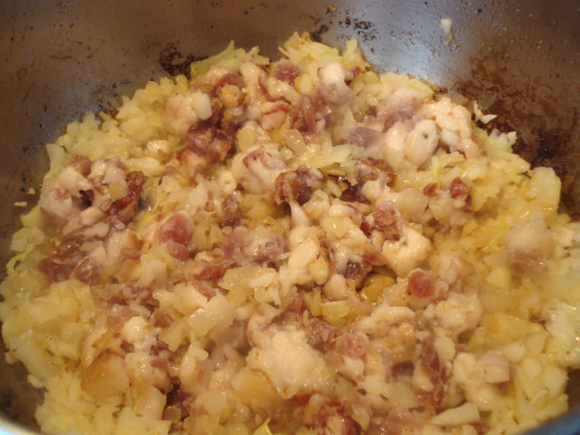 Fry onions and bacon