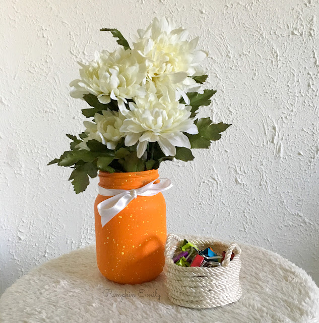 DIY Paint Splattered Jar and DIY Rope Basket