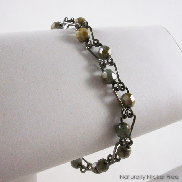 Niobium Bracelet with Green Jasper Beads Nickel Free