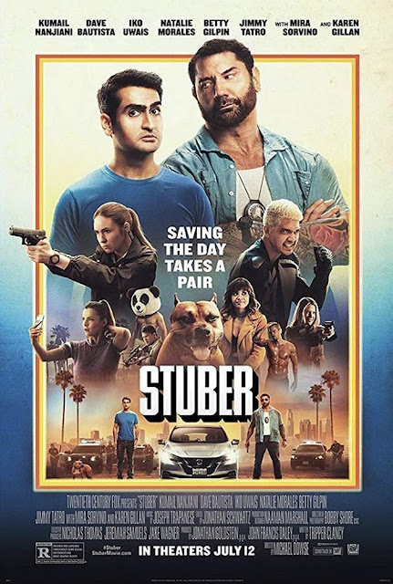 "Movie poster for Walt Disney Studios Motion Pictures and 20th Century Fox's 2019 comedy film ""Stuber,"" starring Dave Bautista, Kumail Nanjiani, Natalie Morales, Iko Uwais, Karen Gillan, Jimmy Tatro, and Betty Gilpin"