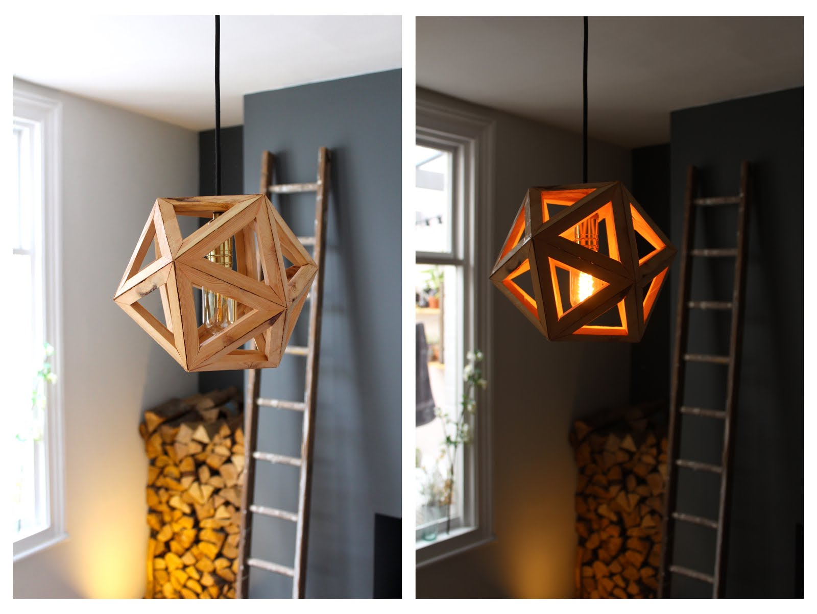 icosahedron geometric ceiling light DIY