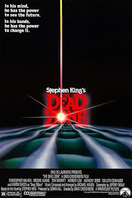 Movie poster for Paramount Pictures's 1983 thriller The Dead Zone, starring Christoper Walken, Tom Skerritt, Martin Sheen, Brooke Adams, and Anthony Zerbe
