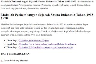 Makalah Perkembangan Sejarah Sastra Indonesia Tahun 1933-1970 - Pada makalah ini membahas tentang Perkembangan Sejarah , Pengertian sejarah. Hubungan sejarah dengan bahasa, latar belakang, pembahasan, dan referensi makalah.