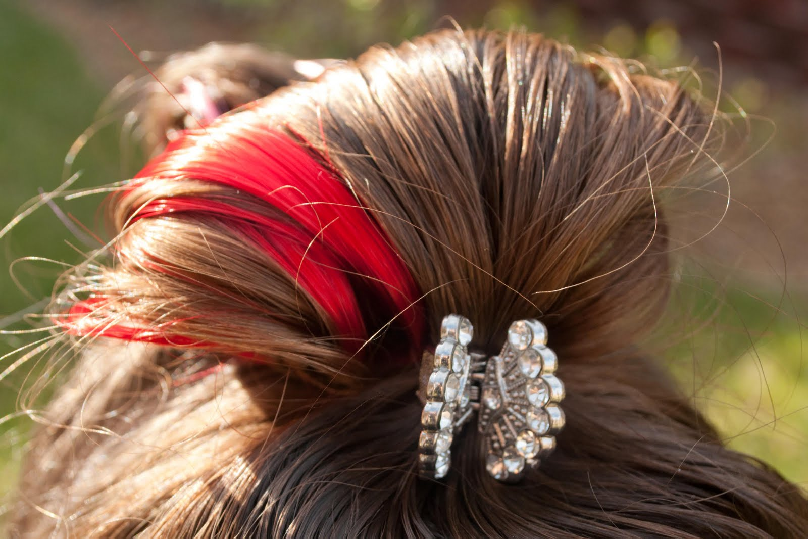 Prom Hairstyles For Medium Hair Half Up Half Down  the colored hair up through the elastic just to secure it tightly