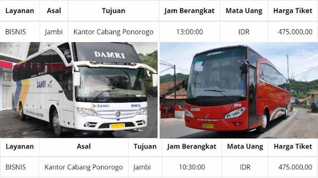 Harga Tiket Damri Jambi Ponorogo 2020/2021