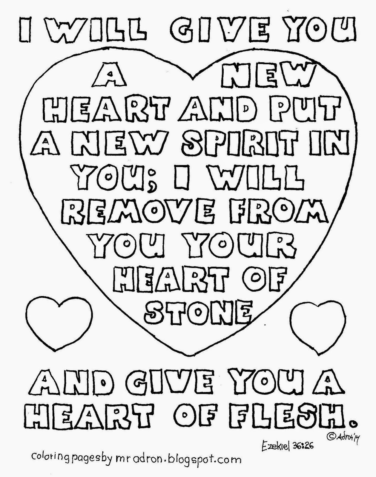 I Will Give You A New Heart Coloring Page