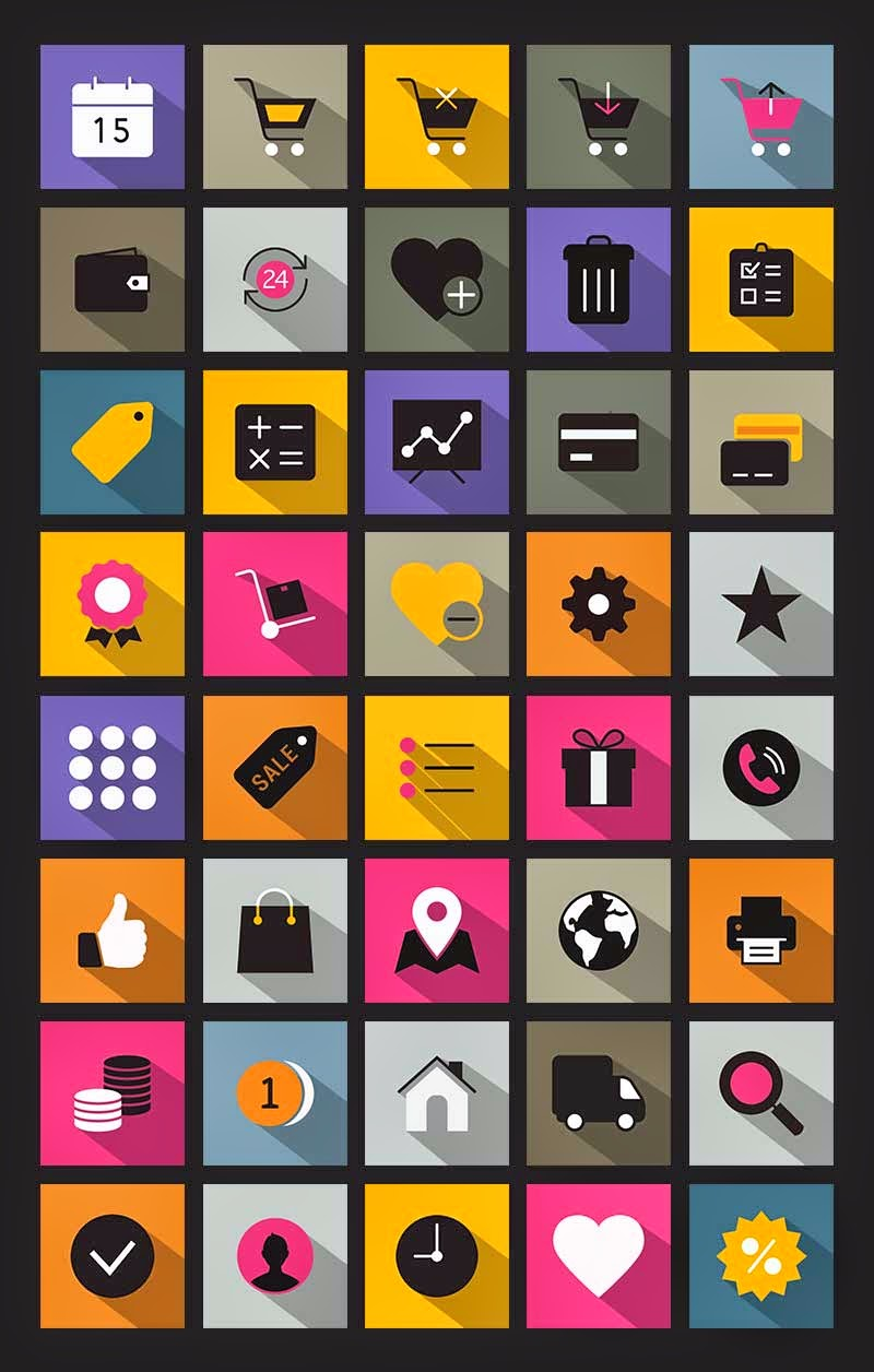 40 Flat Long Shadow Icons (Ai & Pngs)