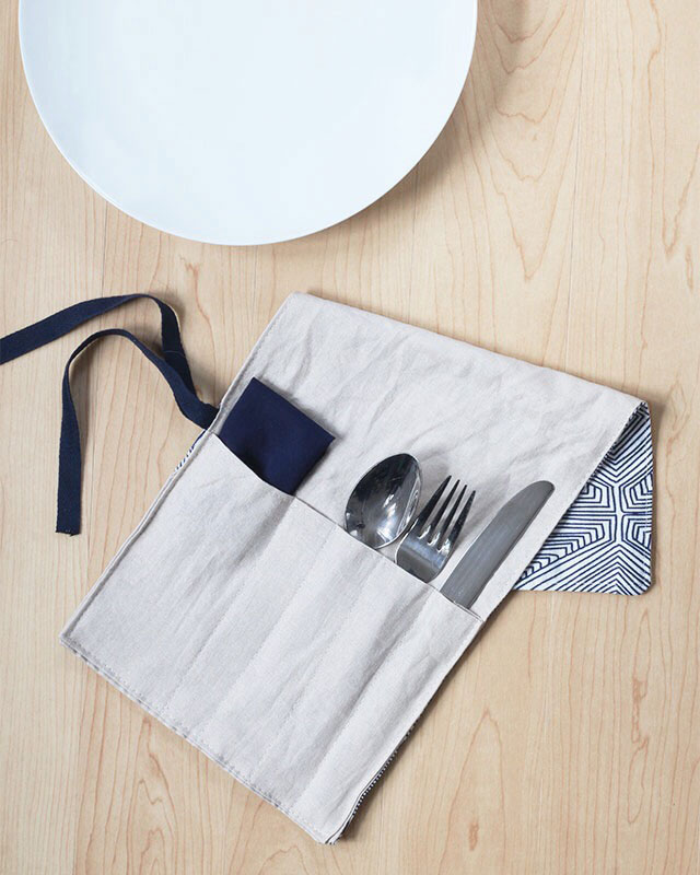 DIY Utensil Holder: Pack your lunch with style! Roll-style, that is. Make a reusable utensil holder to carry your cutlery to and from the office or school.