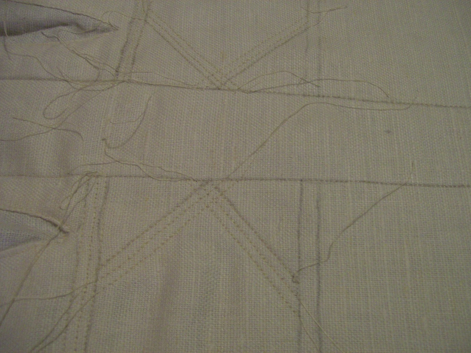 Quilting the stays for the trapunto work.