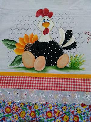 pintura em tecido semaninha de galinha - galinha com ovos