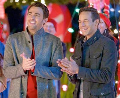 Scene from 2020 film The Christmas House starring openly gay actor Jonathan Bennett