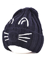 Pom Ball Cat Face Beanie Hat - Cadetblue