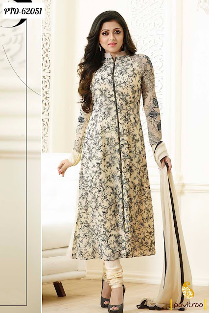 cream color chiffon Indian fashion designer style Madhubala Drashti Dhami Straight churidar salwar kameez online with low cost