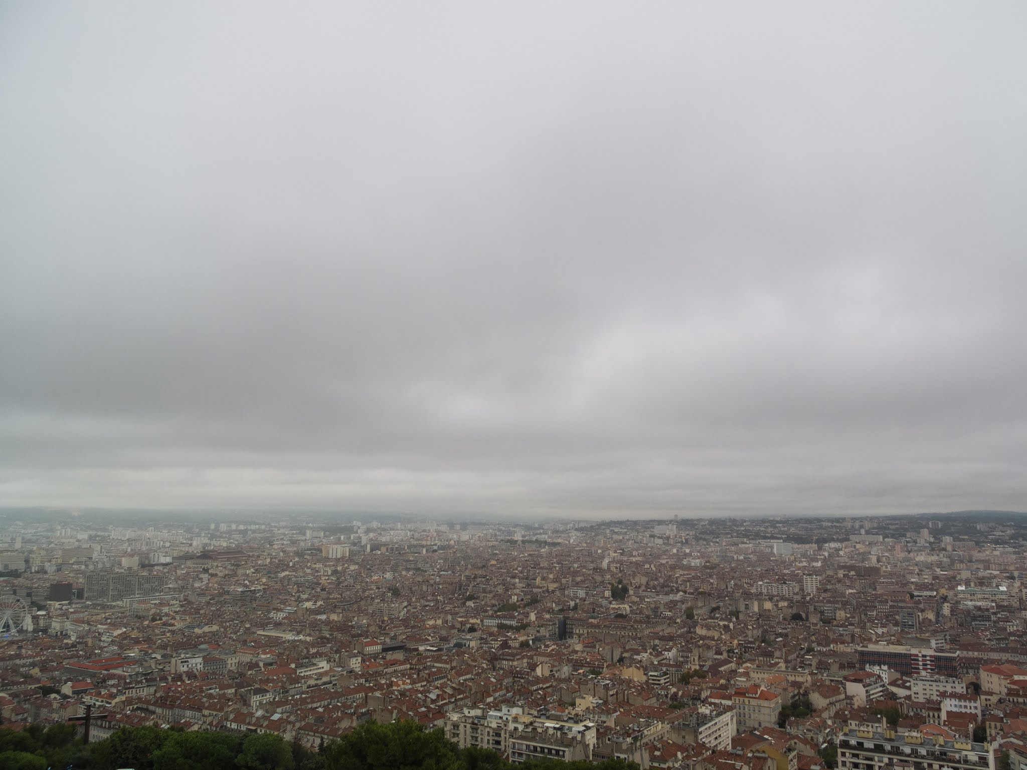 Overcast sky above Marseille, Southern France.