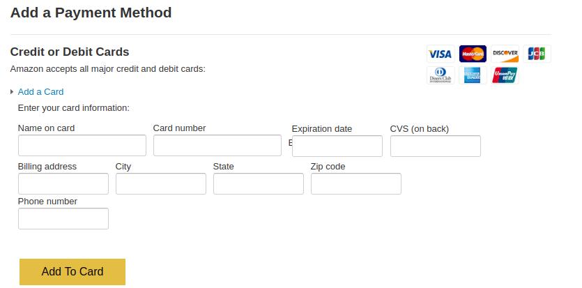 Amazon payment gateway phishing - Get full card details