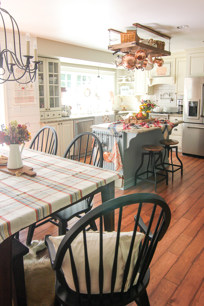 fall kitchen decor white island with butcher block top golden boys and me
