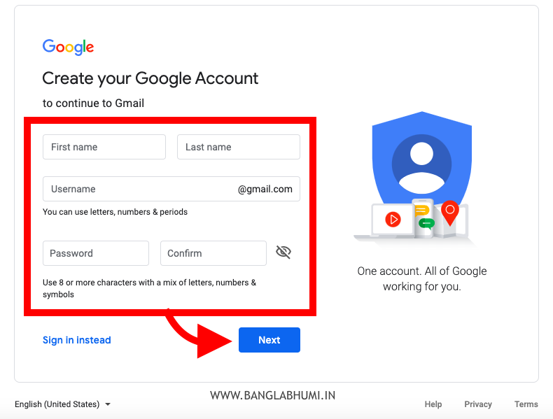 How to Create Gmail Account - Step 2