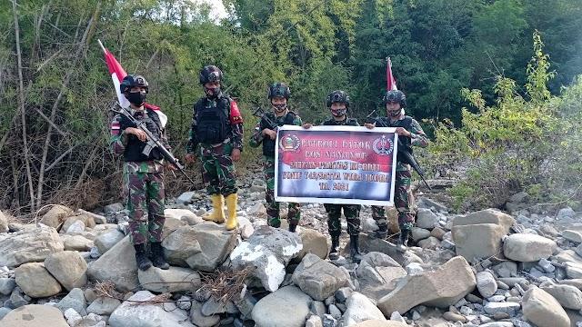 Pasca Banjir, Patop Satgas Pamtas Yonif 742/SWY Cek Patok Yang Diduga Hilang.