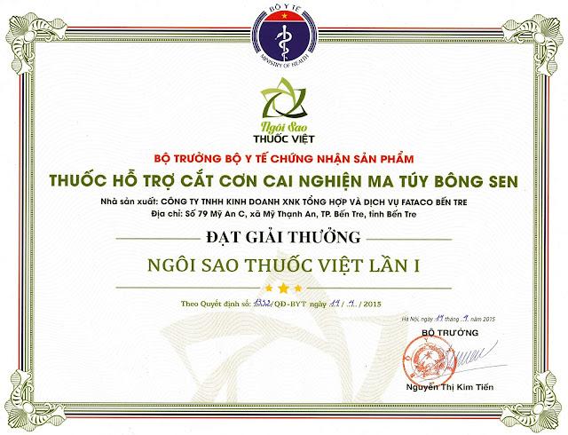 Giải thưởng cao quý Ngôi Sao Thuốc Việt do Bộ Y Tế trao tặng