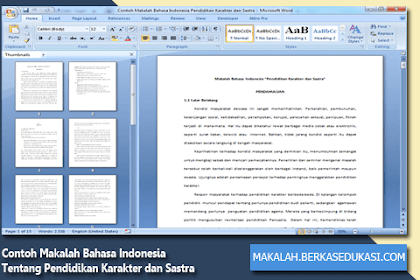Contoh Makalah Bahasa Indonesia Tentang Pendidikan Karakter dan Sastra