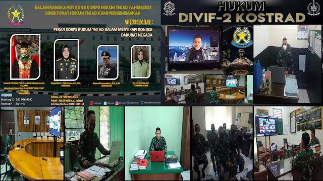 Dalam Rangka HUT Korps  Hukum  AD Ke-69, Staf Hukum Divif 2 Kostrad Ikuti Webminar