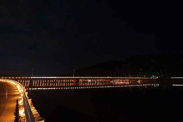 bridge, candlelight, road, water, nightfall, reflections