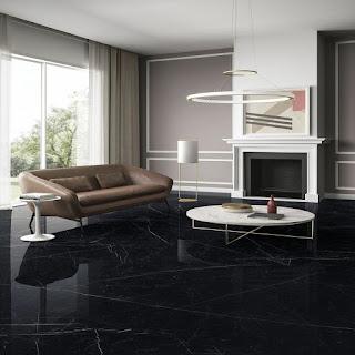 Granit Lantai Warna Hitam Motif Mewah