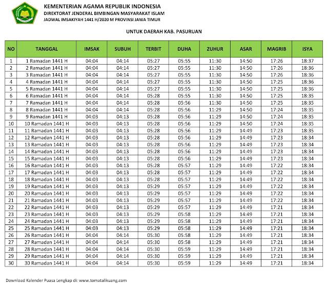 jadwal imsak waktu buka puasa Kabupaten Pasuruan 2020 m ramadhan 1441 h tomatalikuang.com