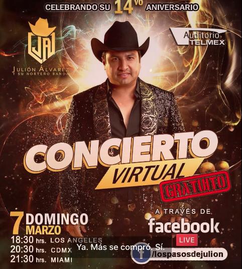 Celebrará Julión Álvarez 14 años de éxito con su público en concierto virtual gratuito