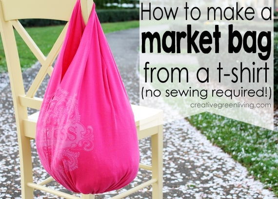 This no sew upcycled t-shirt reuseable grocery bag is easy to make and functional