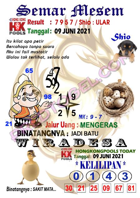 Syair HK Semar Mesem rabu 09 Juni 2021