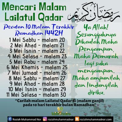 Pecutan 10 Malam Terakhir Ramadhan 1442H